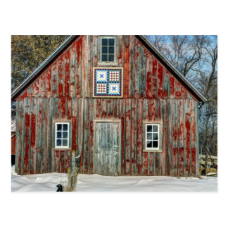 Country Quilt Old Barn Postcard