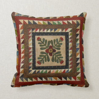 Country Quilt Pattern Throw Pillow 16x16