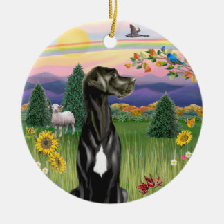Country Rainbow- Black Great Dane Natural ears Christmas Ornaments