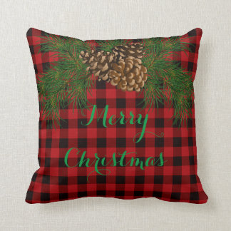 Country red and black plaid Merry Christmas Throw Pillow