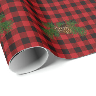 Country red and black plaid pine cone