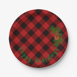 Country Red and Black plaid - pine cones Paper Plate