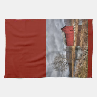 Country Red Barn Reflecting in the Pond Dish Towel