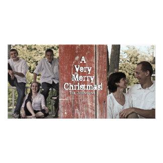 Country Red Barn Two Photo Christmas Card Custom Photo Card