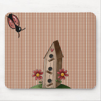 Country Red Gingham Checks Mousepad