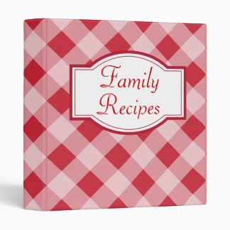 Country Red Gingham Family Recipe Binder Gift