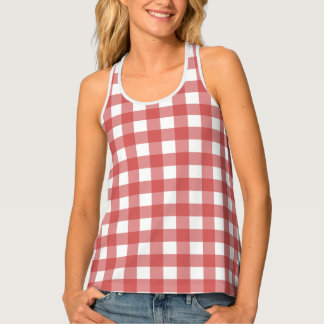 Country Red Gingham Tank Top