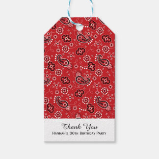 Country Red Paisley Birthday Gift Tags