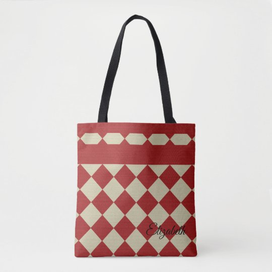 Country Red Squares Burlap Texture Tote Bag