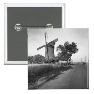 Country road and traditional windmill 2 inch square button