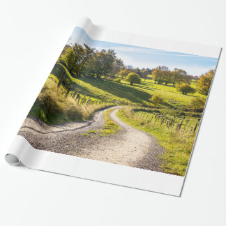 Country Road Between Green Meadows Landscape Wrapping Paper