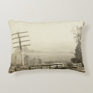 Country Road Drive Postcard Decorative Pillow