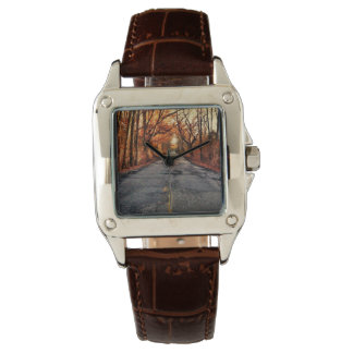 Country Road in Fall Brown Leather Watch