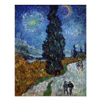 Country Road in Provence by Night Poster