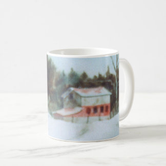 Country Road Mug rural large red barn winter snow