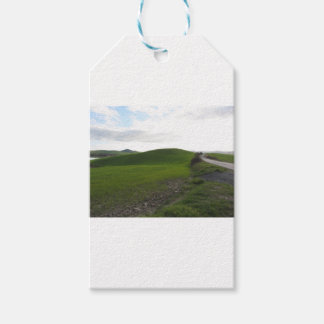 Country road over rolling green hills and valleys gift tags