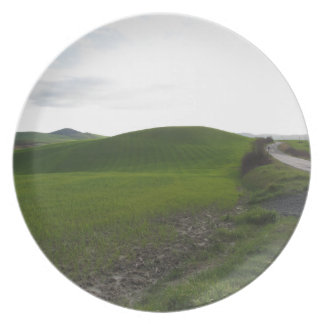 Country road over rolling green hills and valleys plate
