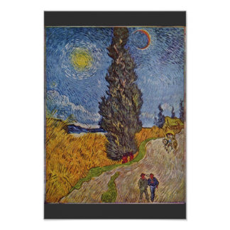 Country Road With Cypresses By Vincent Van Gogh Poster