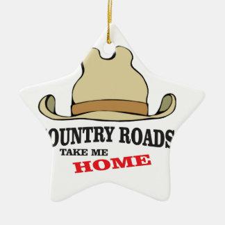 country roads take me home dude ceramic star ornament