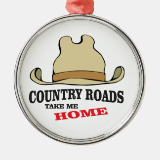 country roads take me home dude Silver-Colored round ornament