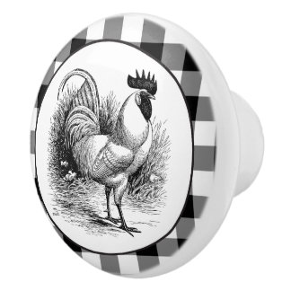 Country Rooster black white check knob