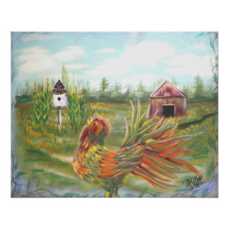 Country Rooster on the Farm Painting Poster