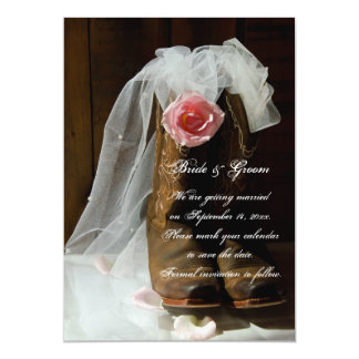 """Country Rose Cowboy Boots Western Save the Date 5"""" X 7"""" Invitation Card"""