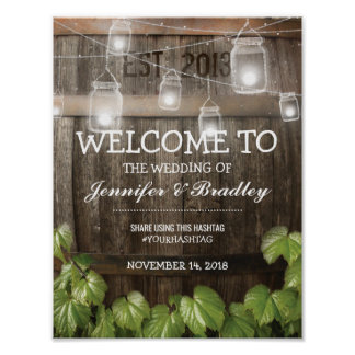 Country Rustic Barrel Vine Wedding | Hashtag Poster