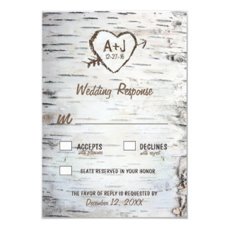 "Country Rustic Birch Tree Bark Wedding RSVP Cards 3.5"" X 5"" Invitation Card"