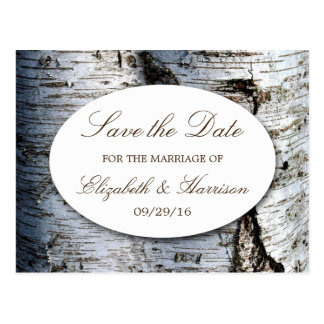 Country Rustic Birch Tree Wedding Save The Date Postcard