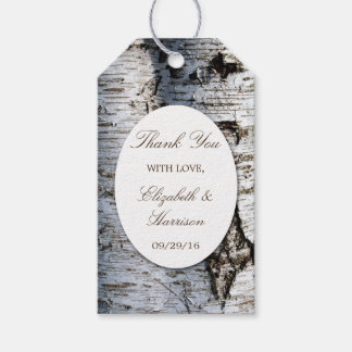 Country Rustic Birch Tree Wedding Thank You Favour Gift Tags