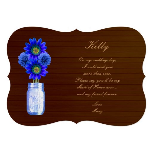 Country Rustic Blue Mason Jar Maid Of Honor Card