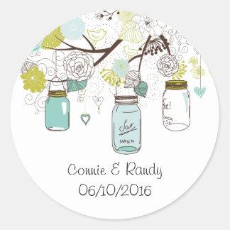 Country Rustic Blue Mason Jar Wedding Sticker