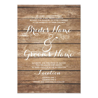 Country rustic brown vintage wood wedding card