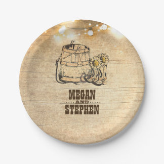 Country Rustic Cowboy Boots Barn Wedding Paper Plate