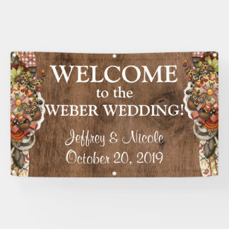 Country Rustic Fall Autumn Custom Wedding Banner