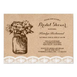 Country Rustic Lace Mason Jar Bridal Shower Card