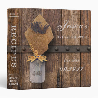Country Rustic Lavender Mason Jar Bridal Shower 3 Ring Binders