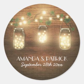 Country Rustic Lights Mason Jar Wedding Favors Round Sticker