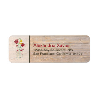 Country Rustic Mason Jar Address Labels (red)