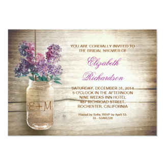 "country rustic mason jar bridal shower invitations 5"" x 7"" invitation card"