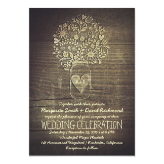 country rustic mason jar floral wedding invitation