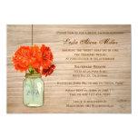 "Country Rustic Mason Jar Flowers  Bridal Shower 5"" X 7"" Invitation Card"