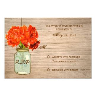Country Rustic Mason Jar Flowers RSVP Custom Announcements