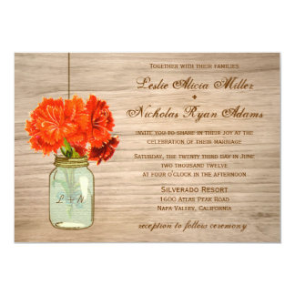 "Country Rustic Mason Jar Flowers Wedding 5"" X 7"" Invitation Card"