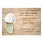 """Country Rustic Mason Jar Hydrangea Bridal Shower 5"""" X 7"""" Invitation Card"""