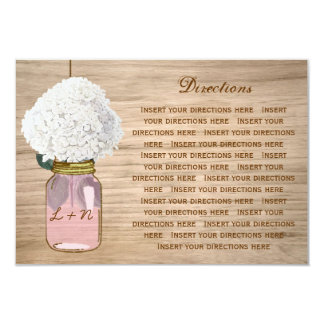"Country Rustic Mason Jar Hydrangea Directions 3.5"" X 5"" Invitation Card"