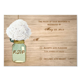 Country Rustic Mason Jar Hydrangea RSVP Card