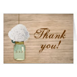 Country Rustic Mason Jar Hydrangea Thank You Stationery Note Card