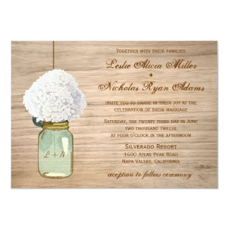 "Country Rustic Mason Jar Hydrangea Wedding 5"" X 7"" Invitation Card"